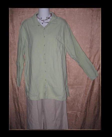 J. Jill Soft Green Snappy Tunic Top Shirt Medium M