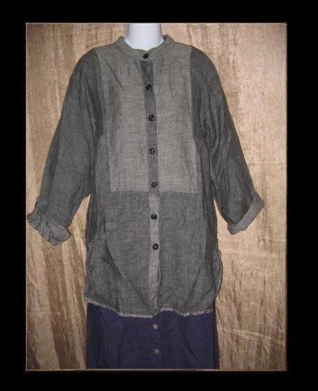 FLAX by Jeanne Engelhart Long Linen Button Shirt Tunic Top Small S