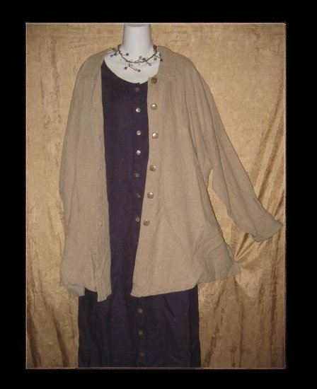 FLAX by Jeanne Engelhart Long Linen Pocket Play Button Shirt Tunic Top Jacket Large L
