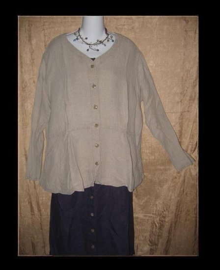 FLAX by Jeanne Engelhart Shapely LINEN Peplum Jacket Shirt Top Large L