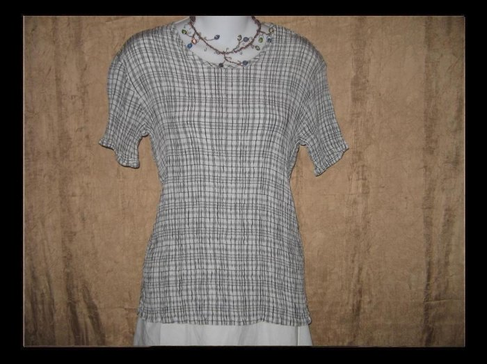 Flax by Jeanne Engelheart Black & White Crinkled Shirt Top Small S