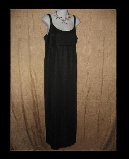 CLOTHESPIN Slinky Black Knit Slip Dress Engelhart Flax Large L