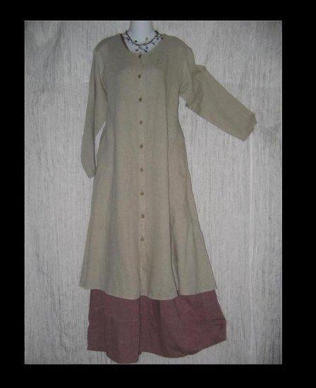 Flax by Jeanne Engelhart Shapely LINEN Duster Coat Jacket Small S
