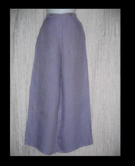 FLAX by Jeanne Engelhart Purple LINEN Sailoring Pants Wide Leg Floods P