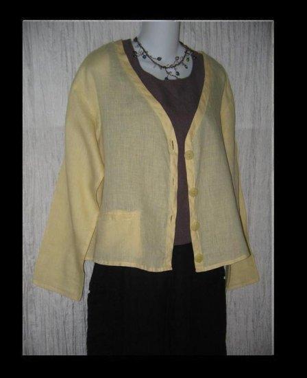 FLAX by Jeanne Engelhart Butter Cardigan Button Shirt Top Small S