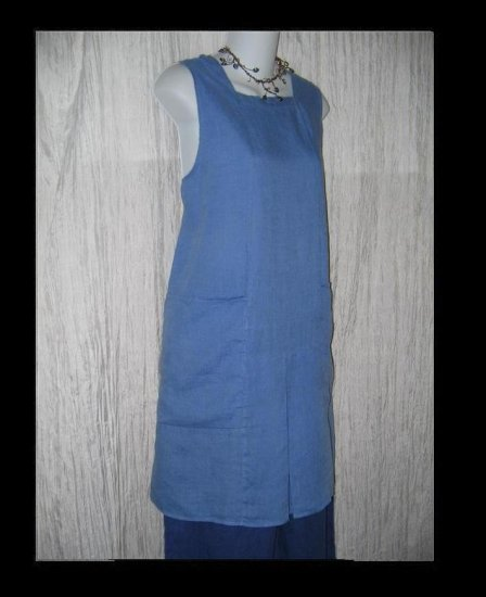 FLAX by Jeanne Engelhart LINEN Short Cornflower Jibe Jumpette Dress Small S