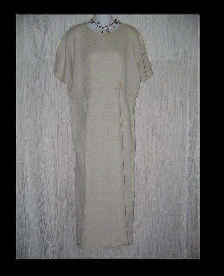 FLAX by Jeanne Engelhart Natural LINEN Sailor Dress Small S