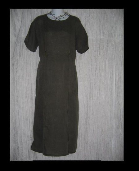 FLAX by Jeanne Engelhart Olive LINEN Sailor Dress Small S