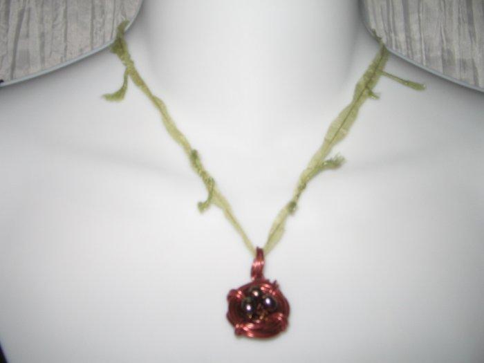 NEW Ever & Anon Whimsical Ruby Wren Birds Nest Pendant Necklace