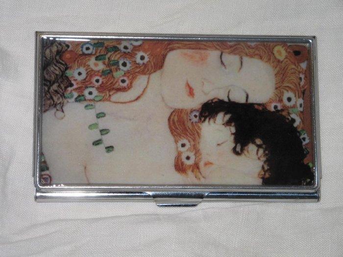 Klimt Mother & Child Business Credit Card ID Cash Case Slim Metal Wallet
