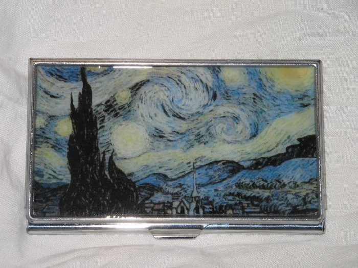 Vincent van Gogh Starry Night Business Credit Card ID Cash Case Slim Metal Wallet