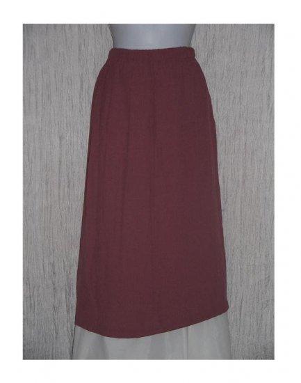 R-Clan Long Rose Check Rayon Skirt Jeanne Engelhart FLAX Medium M