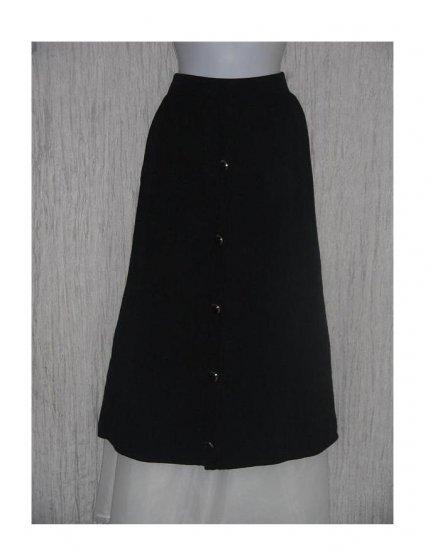 ST. JOHN Seperates Long & Full Black Knit Skirt w Gold Buttons 10