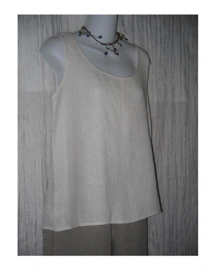 New JACKIE LOVES JOHN White Thermal Linen Shell Tank Top Shirt Small S