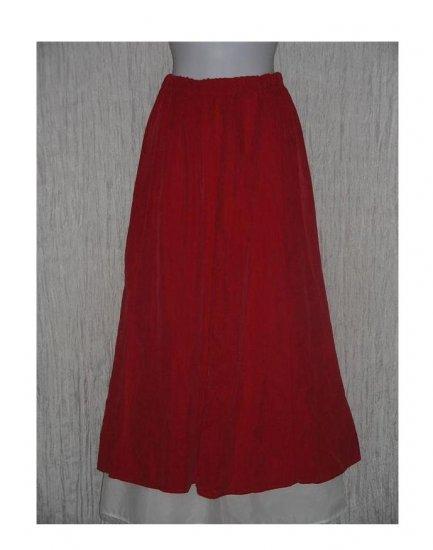 Coldwater Creek Long & Full Soft Velvet Red Rayon Skirt Medium M