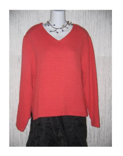 Coldwater Creek Soft Textured Coral Cotton Tunic Top Shirt Medium M