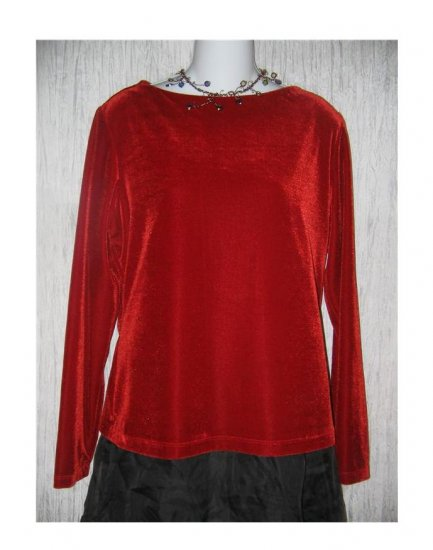 Coldwater Creek Rich Red Velour Tunic Top Shirt Large L