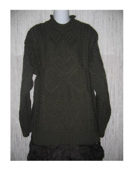 Arancraft Green Wool Aran Knit Irish Fisherman's Sweater Medium M