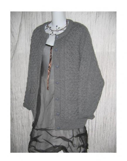 Arancraft Grey Wool Cardigan Aran Knit Irish Fisherman's Sweater Medium M