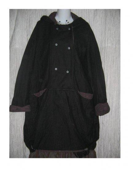 ANGELHEART DESIGNS by Jeanne Engelhart FLAX Long Hooded Bubble Hem Tunic Jacket Coat Medium M