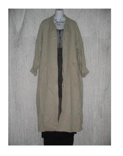 ANGELHEART DESIGNS by Jeanne Engelhart FLAX Long Earthy Wool & Linen Lined Coat Medium M