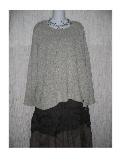 FLAX by ANGELHEART Soft Gray Pocket Tunic Sweater Jeanne Engelhart M L
