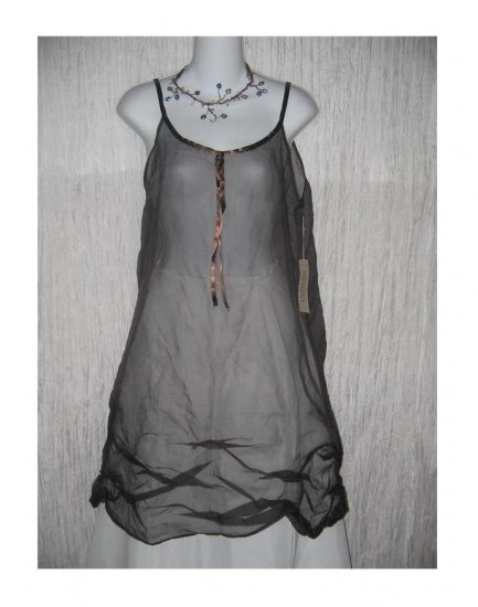 New Neesh by D.A.R. Floaty Black Silk Ribbon Slip Dress Small S