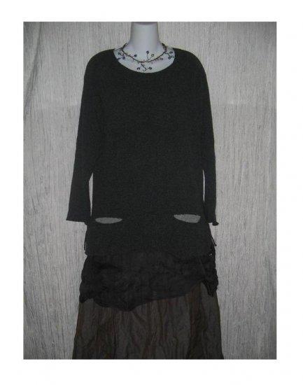 Neesh by D.A.R. Soft 2 Tone Gray Pocket Tunic Sweater Engelhart FLAX S M