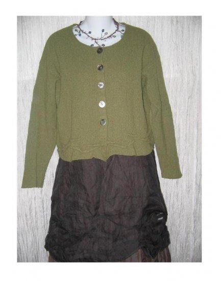 NEESH by D.A.R. Cropped Green Wool Cardigan Sweater Medium Large M L