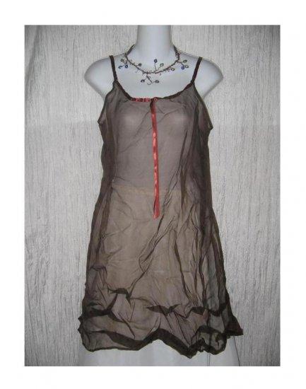 New Neesh by D.A.R. Floaty Chocolate Brown Silk Ribbon Slip Dress Medium M