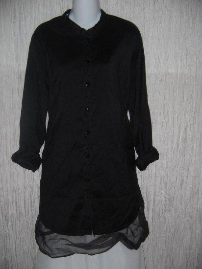 FLAX by Jeanne Engelhart Long Black Silk Button Shirt Tunic Top Jacket Petite P