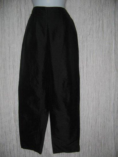 FLAX Long Black Silk Trousers Pants Jeanne Engelhart Small S