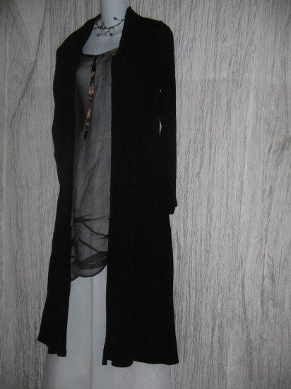 FLAX by Jeanne Engelhart Long Shapely Black Duster Jacket Petite P