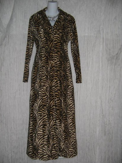 ORCHID Long Soft Shapely Brown Tiger Stripe Duster Jacket Over Coat Medium M