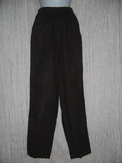 CUT LOOSE Long Chocolate Bown Velvet Trim Linen Pants Medium M