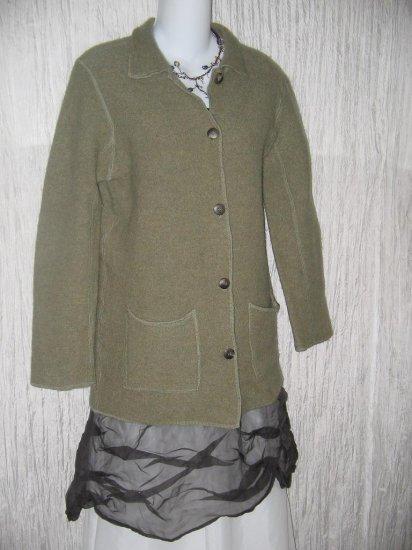 Andrea Viccaro Soft Green Wool Button Jacket Cardigan Medium M