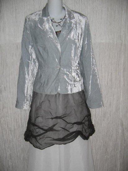 Worthington Shapely Ice Blue Velvet Jacket Top Size 10