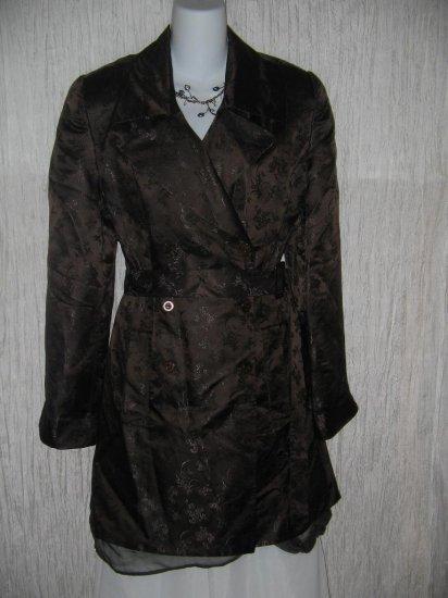 DANA BUCHMAN Long Elegant Chocolate Silk Brocade Belted Coat Jacket 12