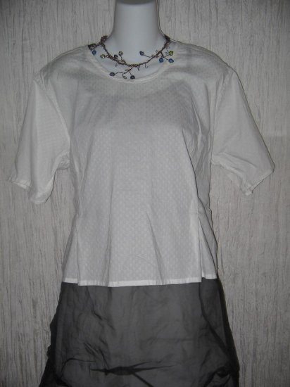 FLAX Jeanne Engelhart White Cotton Button Back Shirt Top Medium M
