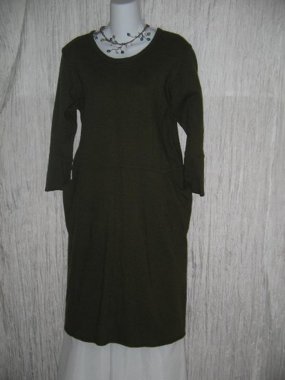 ANGELHEART DESIGNS Long Green Wool Tunic Dress Medium M