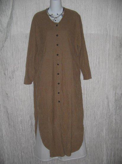 FLAX by Jeanne Engelhart Brown COTTON Corduroy Dress Medium M