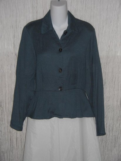 Wooden Ships of Hoboken Stormy Blue Linen Rayon Peplum Jacket Top Medium M