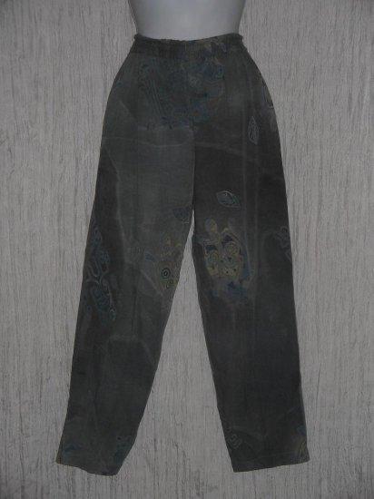 KUSNADI Long Loose Blue Gray Rayon Batik Pants M L