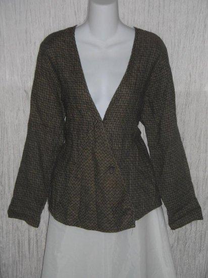 FLAX Jeanne Engelhart Linen Wrapped Knot Jacket Top Petite P