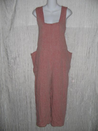 FLAX by Angelheart Jeanne Engelhart Pink Linen Hoveralls Overalls Floods Pants Medium M