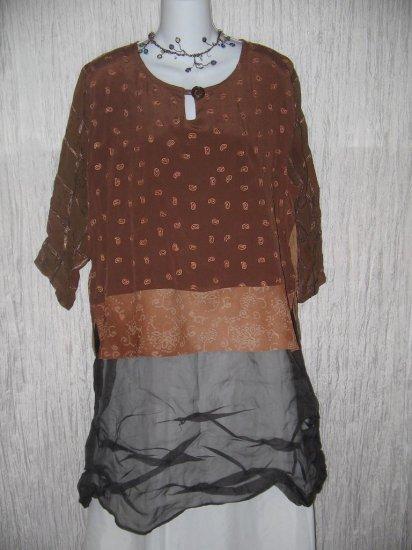 DONNA JESSICA Art to Wear Silk Rayon Tunic Top Shirt Size 1 S M