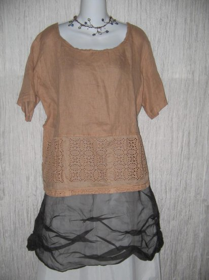 NWT Crescent Moon Clothing Lace Skirted Linen Tunic Top Shirt Large L