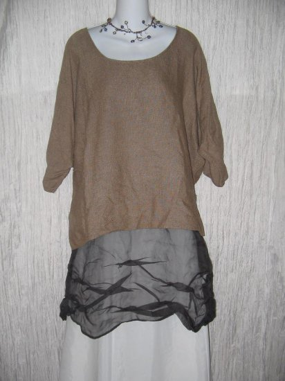 Coveted Boutique Rugged Woven Earthy Brown Tunic Top Shirt OS