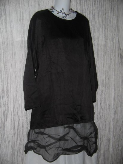 New Jackie Loves John Heavy Black Slinky Silk Tunic Top Shirt OS