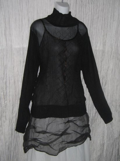 CHAIKEN Boutique Ethereal Black Textured Turtleneck Tunic Top OS